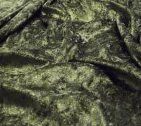 Crushed Velvet Velour Fabric Material - OLIVE